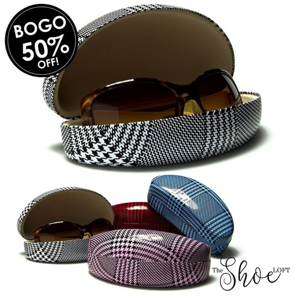 Houndstooth Hard Shell Clam Sunglasses Case